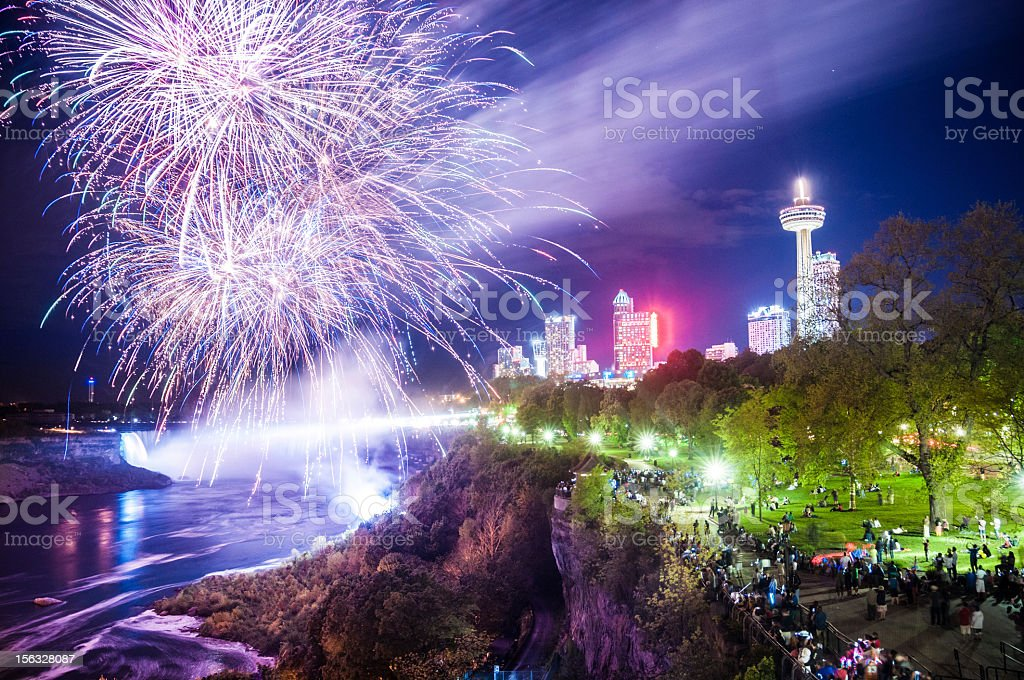 Niagara Falls fireworks stock photo