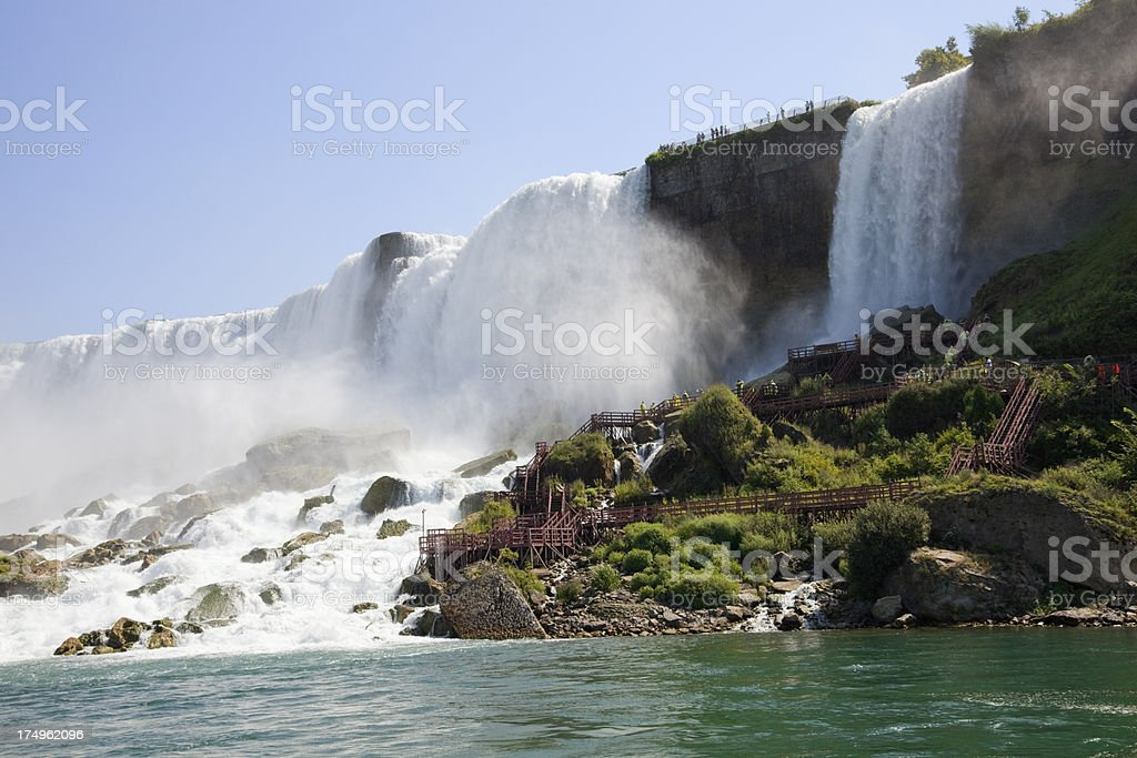 Niagara Falls (American and Bridal Veil) from tourist boat stock photo