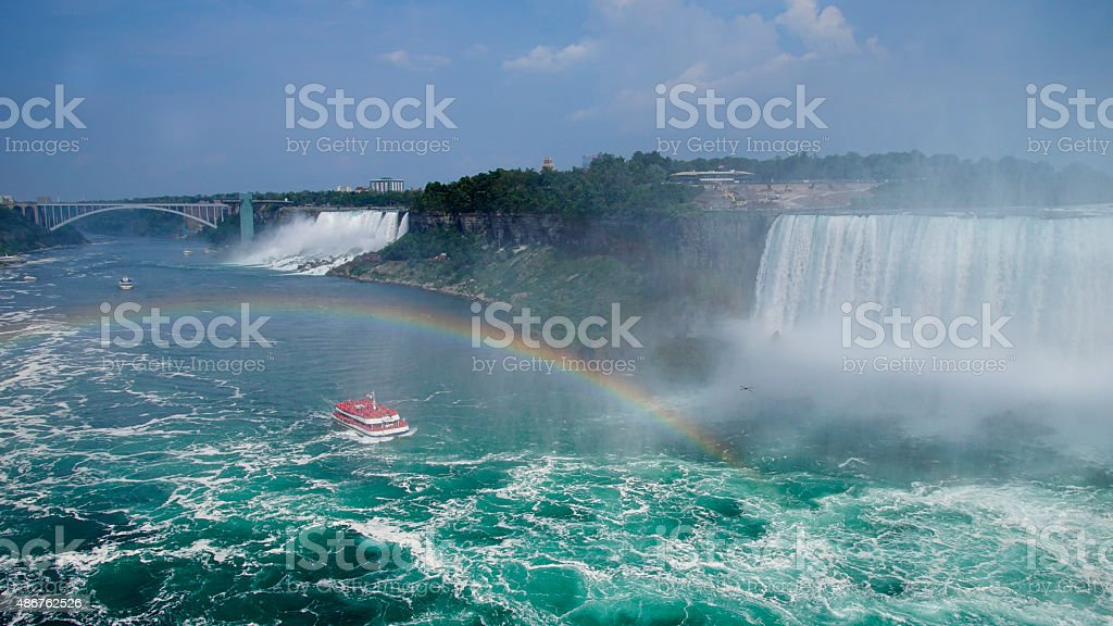 Niagara Falls Landscape and Rainbow 16:9 stock photo