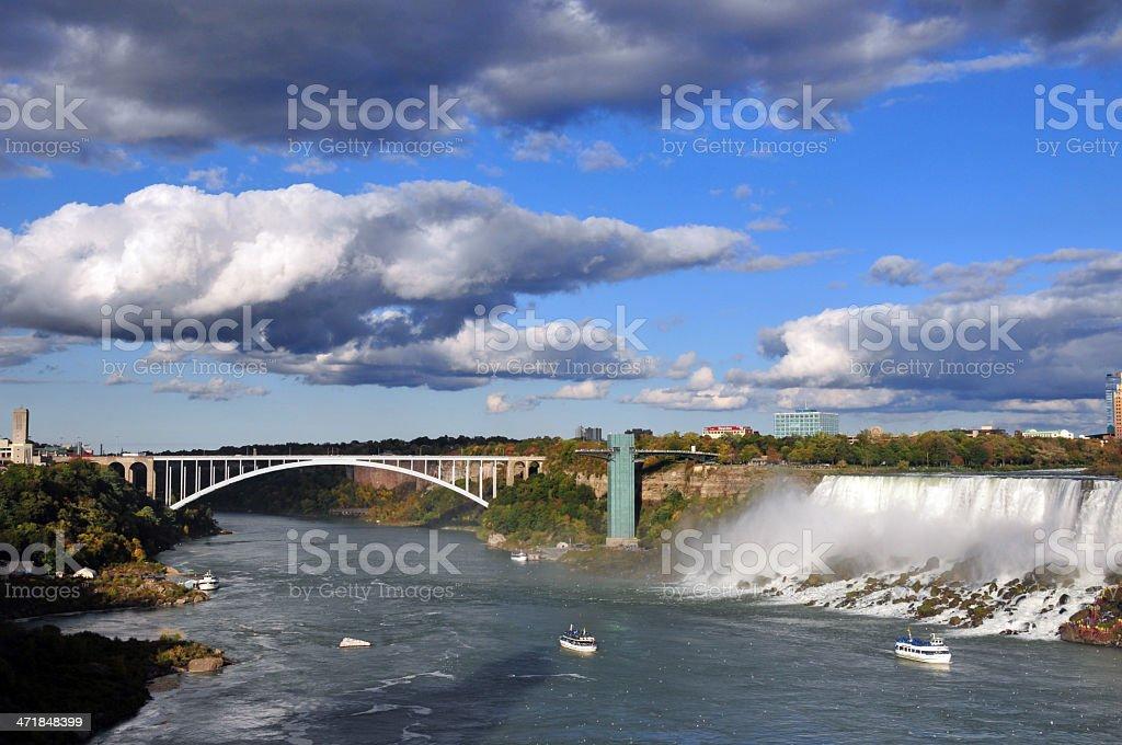 Niagara Falls, NY, USA: American-Falls and Rainbow Bridge stock photo