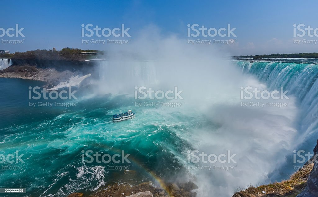 Niagara Falls Ontario.  Misty foggy spray of water rises up. stock photo