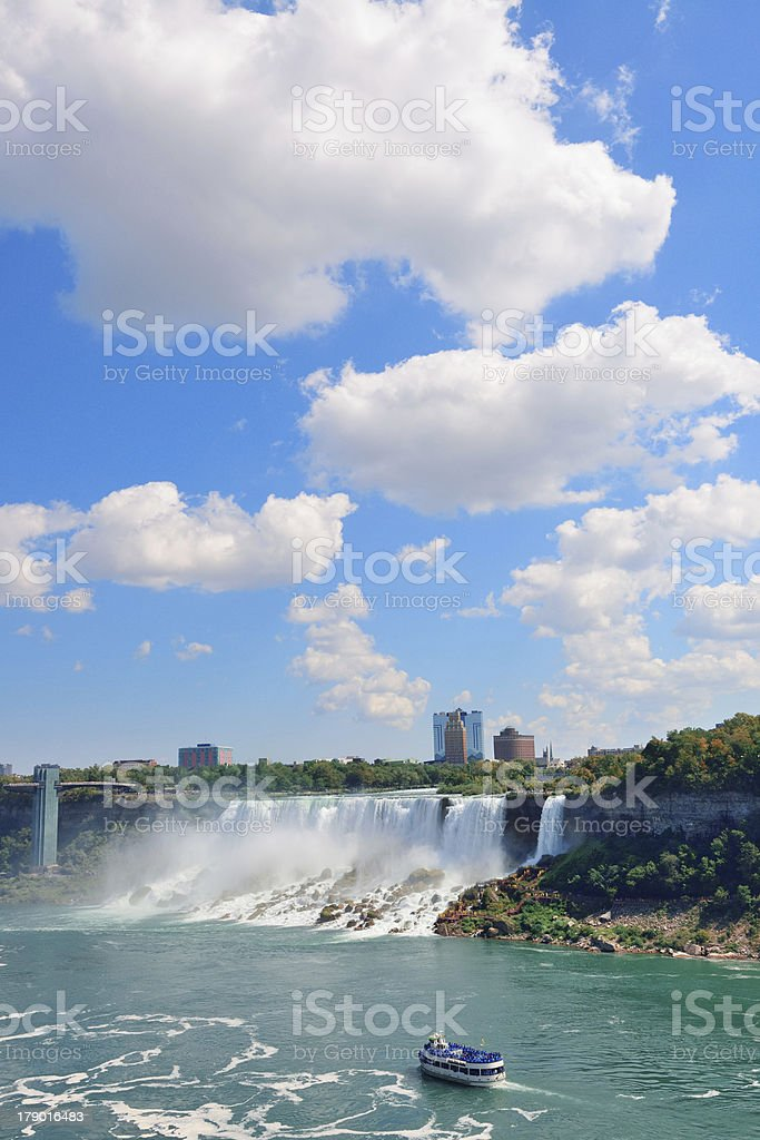 Niagara Falls with boat royalty-free stock photo