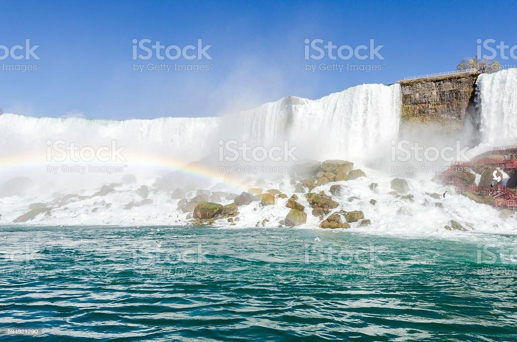 Niagara Falls with the rainbow, Ontario Canada stock photo