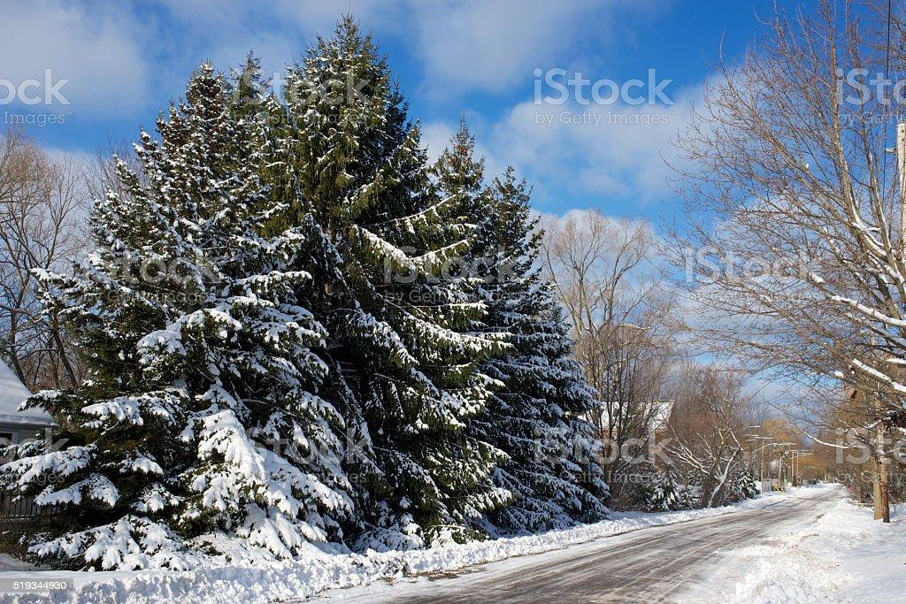 Niagara on the Lake street scene after fall of snow stock photo
