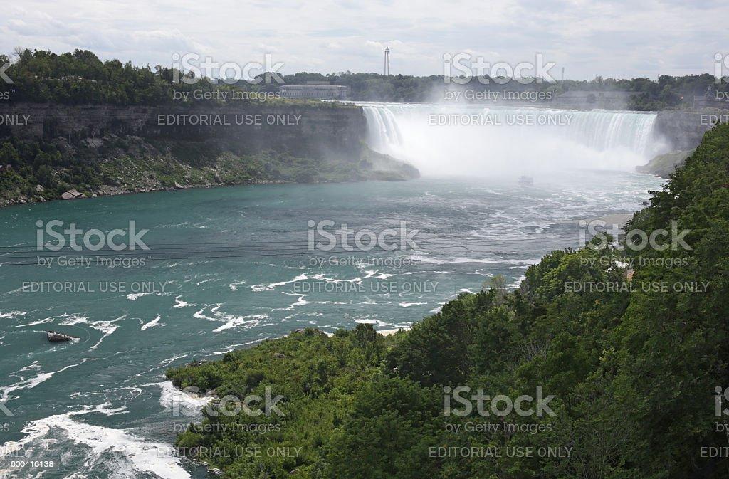 Niagara River and Horsehoe Falls, Ontario, Canada in Summer stock photo