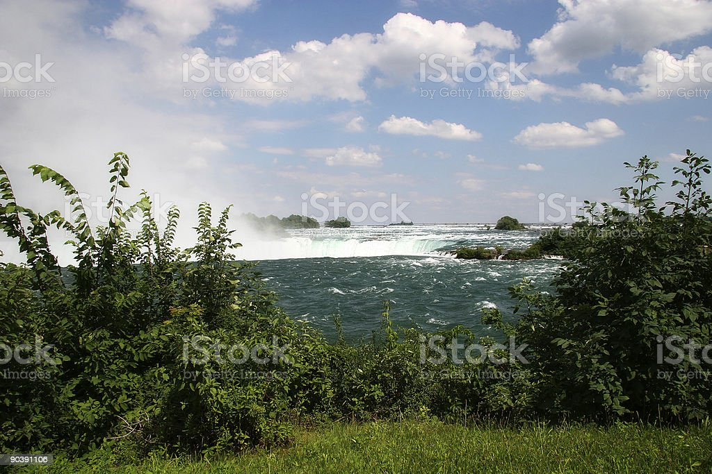 Niagara River with Mist Coming Up royalty-free stock photo