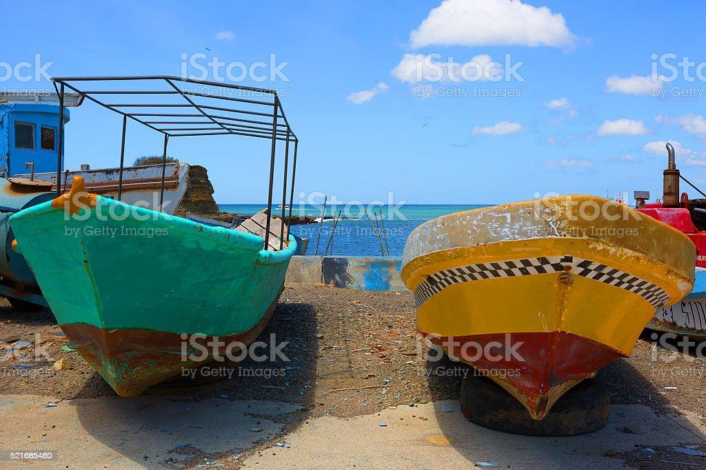 Nicaragua. Boats on the pier of San Juan Del sur. stock photo
