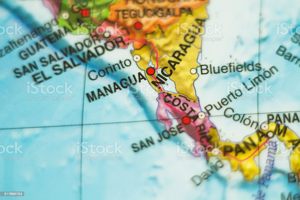Nicaragua country map . stock photo