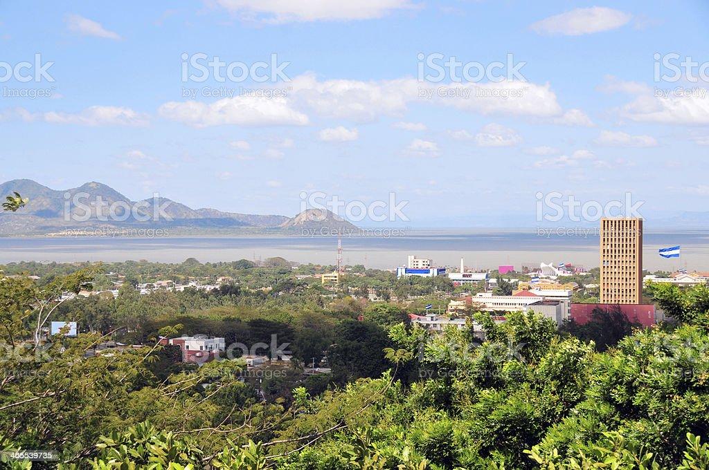 Nicaragua: downtown Managua and the lake stock photo