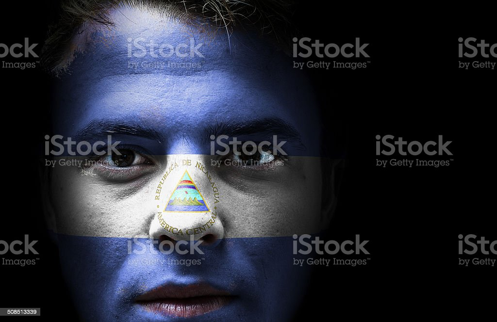 Nicaragua flag on face stock photo