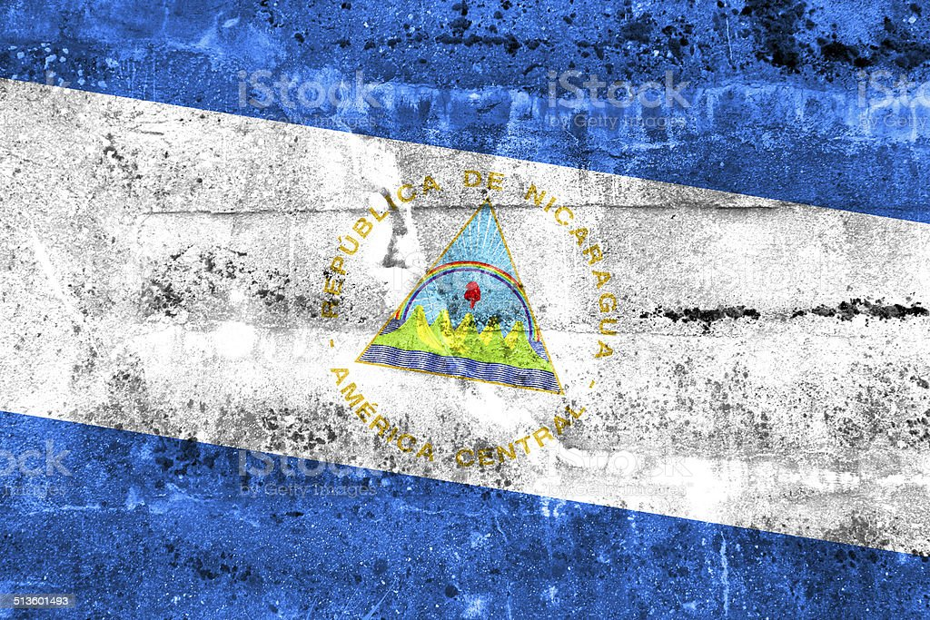 Nicaragua Flag painted on grunge wall stock photo