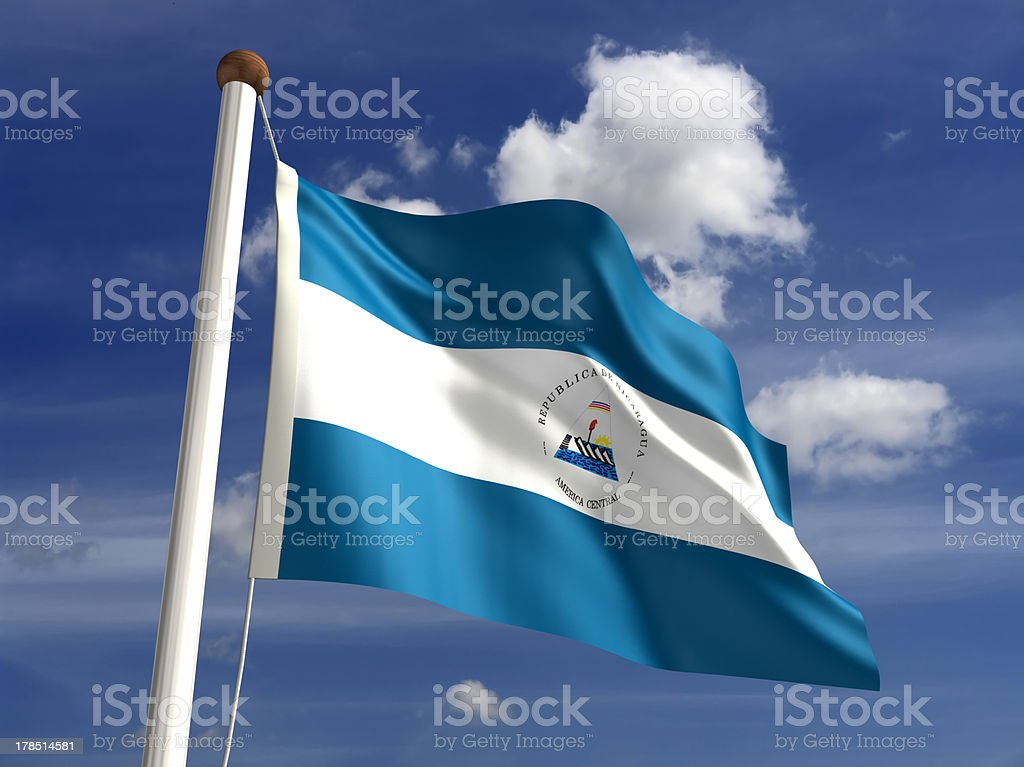 Nicaragua flag (with clipping path) stock photo