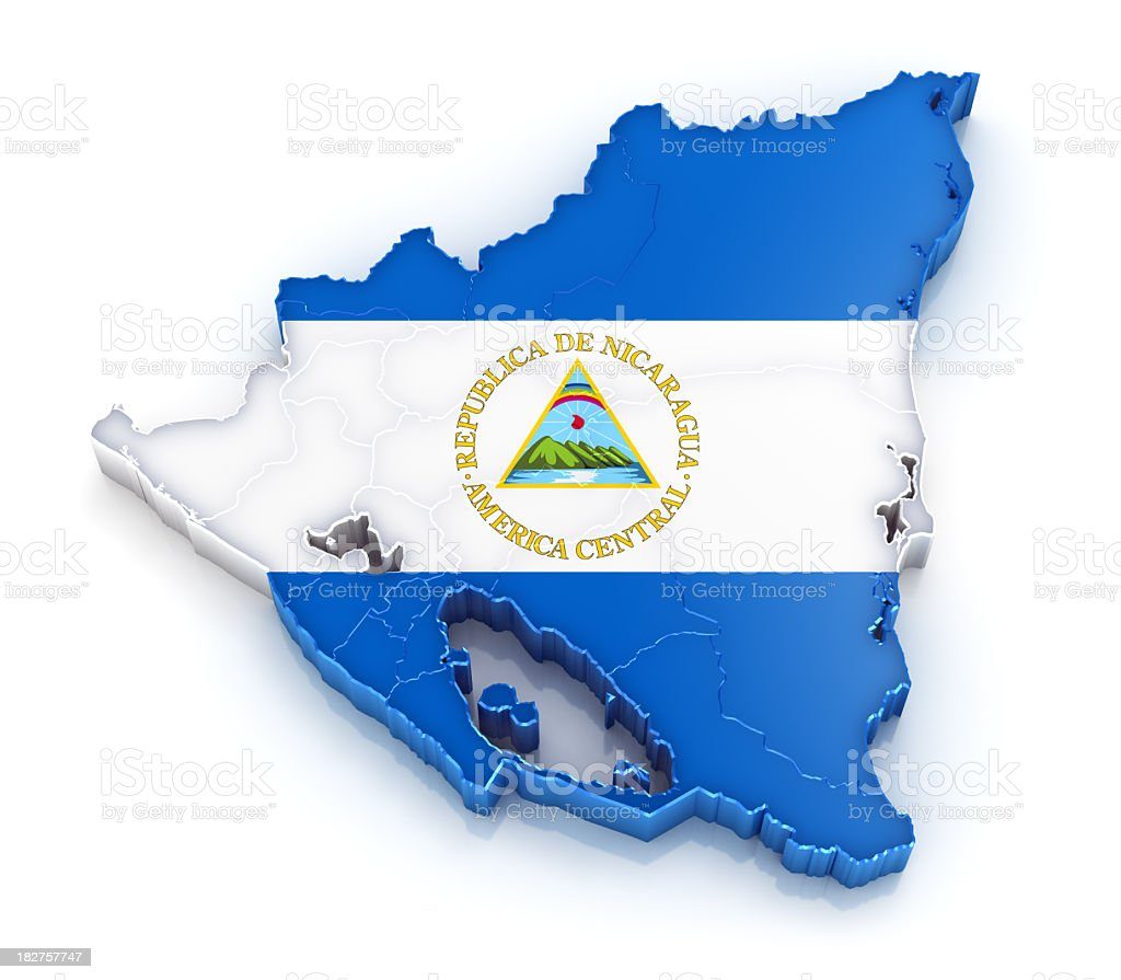 Nicaragua map with flag royalty-free stock photo