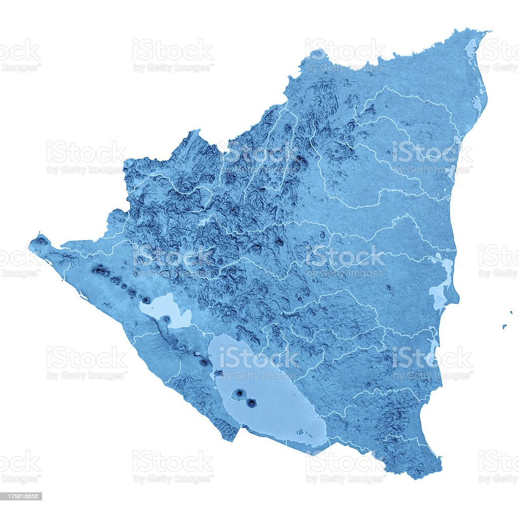 Nicaragua Topographic Map Isolated royalty-free stock photo