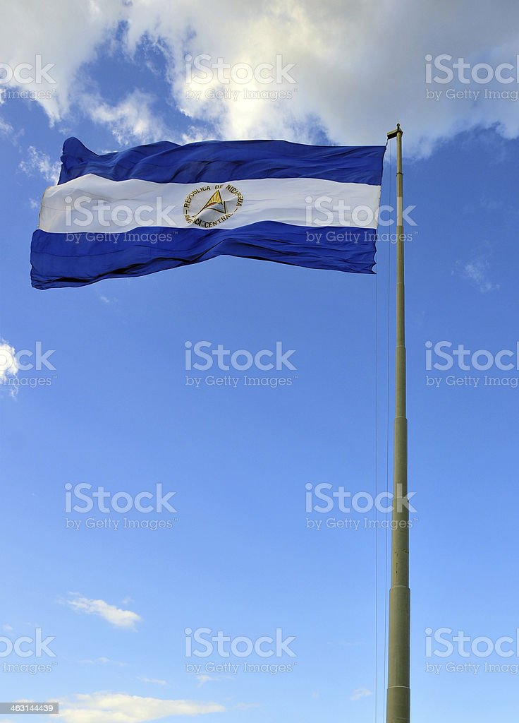 Nicaraguan flag (real photo, not computer generated) stock photo