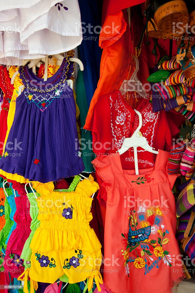 Nicaraguan gifts, souvenirs, traditional dresses on street market stock photo