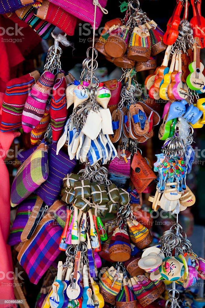 Nicaraguan souvenirs at street market stock photo