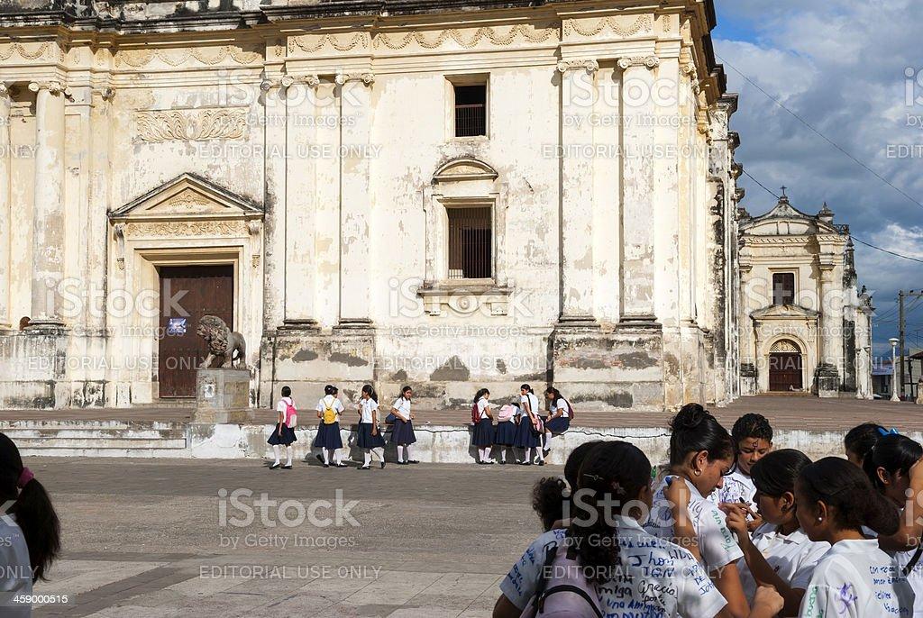 Nicaraguan students in Leon stock photo