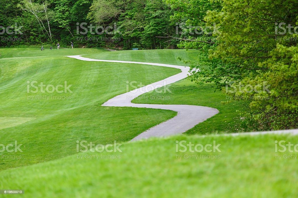 Nice amazing view of park nature and winding trail stock photo