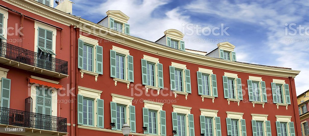 Nice - Architecture of buildings on the Place Massena royalty-free stock photo