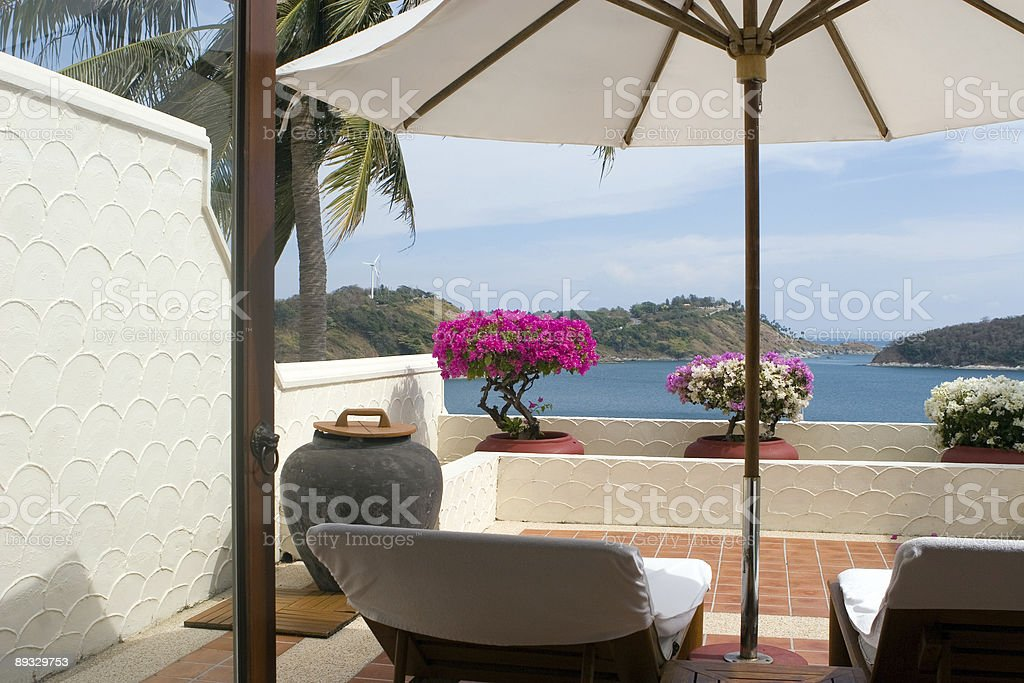nice balcony with seaview royalty-free stock photo