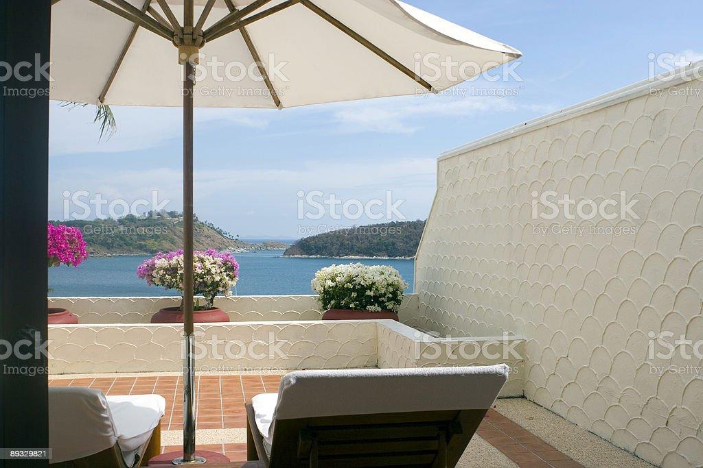 nice balcony with seaview royalty-free stock photo