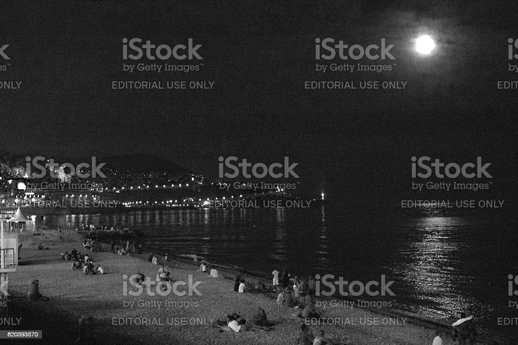 Nice beach at night stock photo