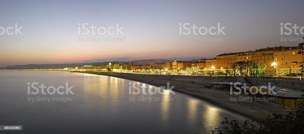 Nice :  Beach Panorama at night royalty-free stock photo