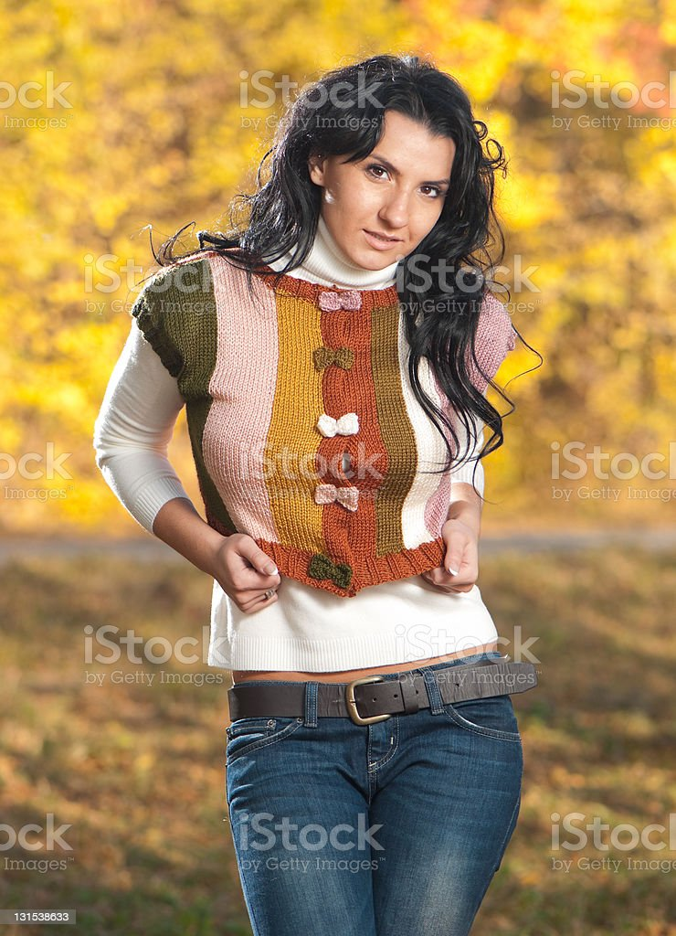 nice brunet in sweater royalty-free stock photo