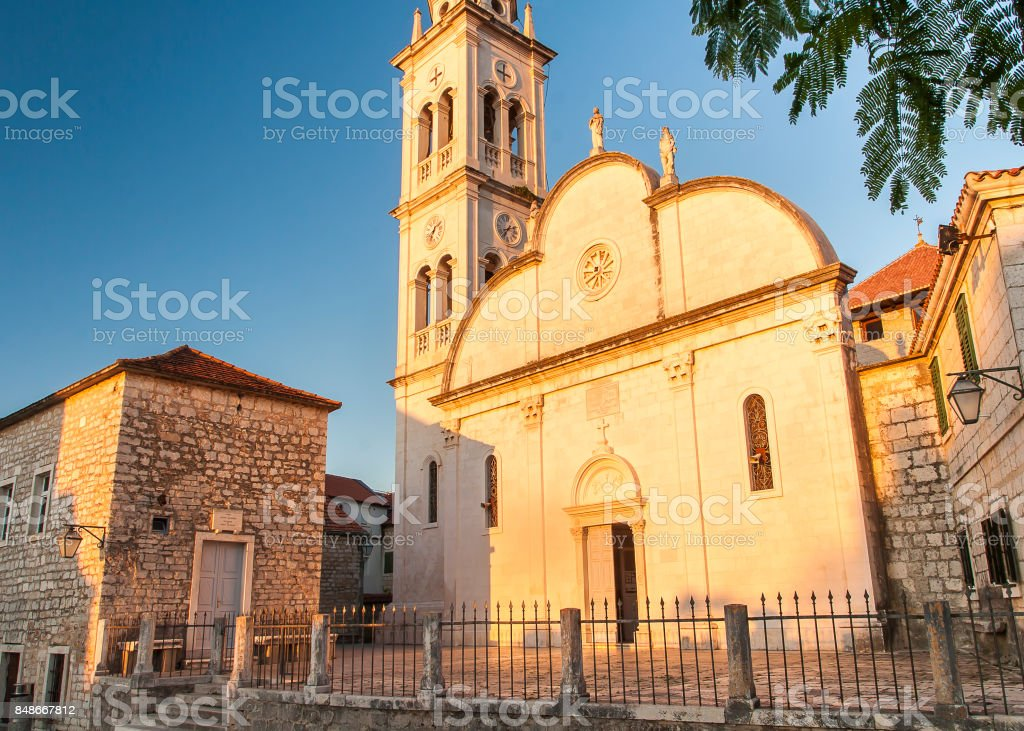 Nice Church in Jelsa City stock photo