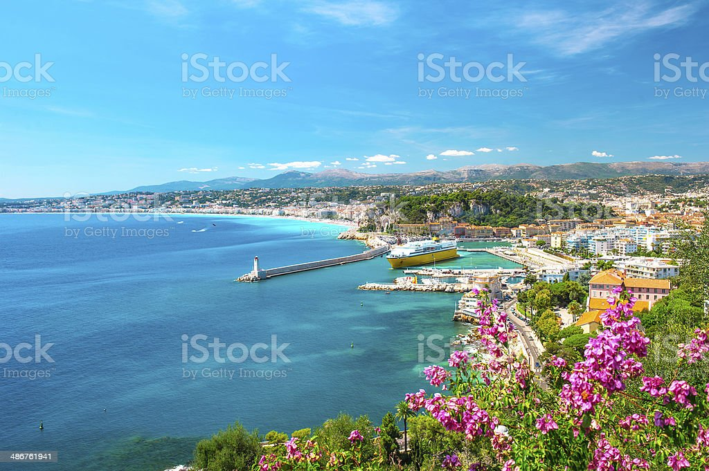 Nice city, french riviera, mediterranean sea stock photo