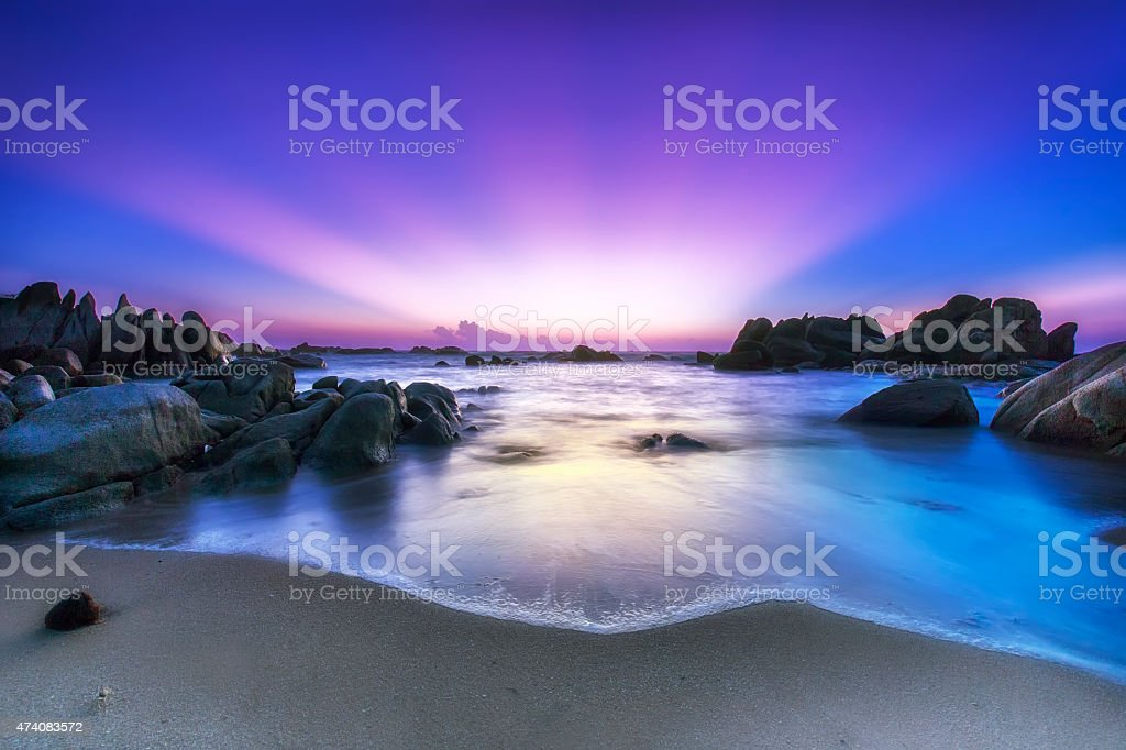 Nice color rays Ke Ga rocks welcomes new day stock photo
