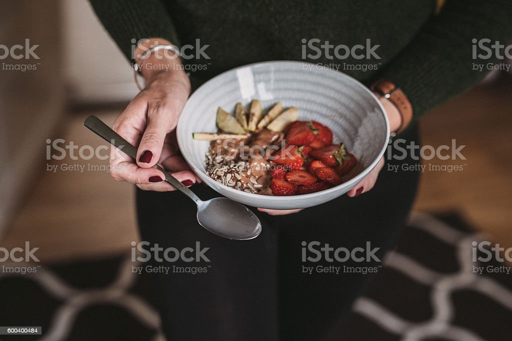 Nice cream smoothie bowl stock photo
