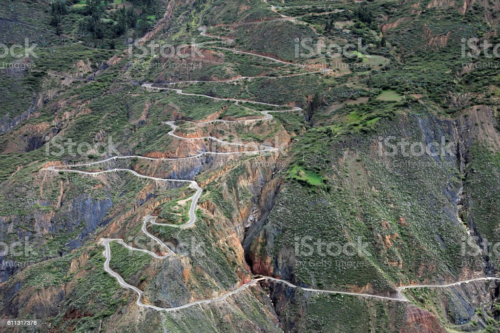 Nice curvy winding mountain road northern Peru stock photo
