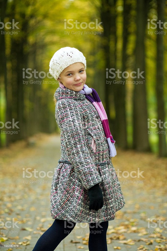 nice cute attractive young girl standing turned stock photo