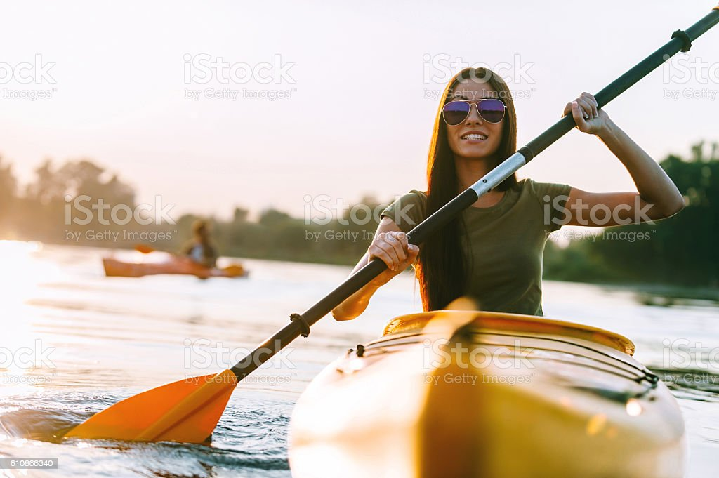 Nice day on kayak. stock photo
