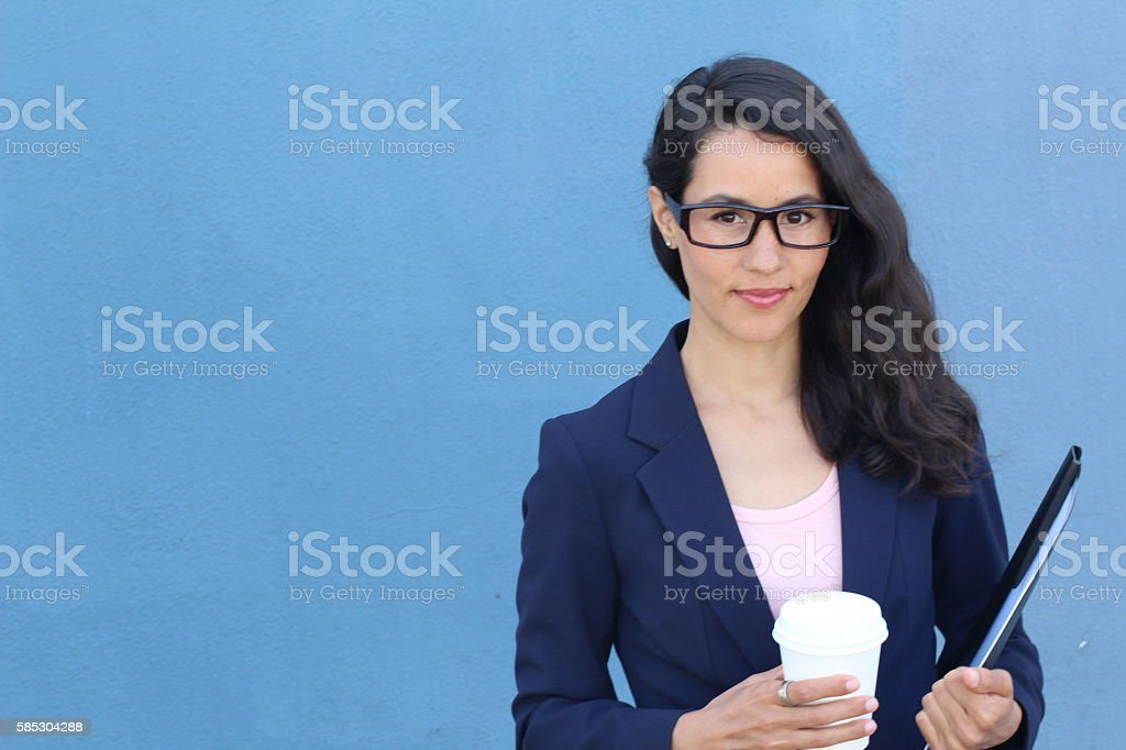 Nice female student smiling looking smart stock photo
