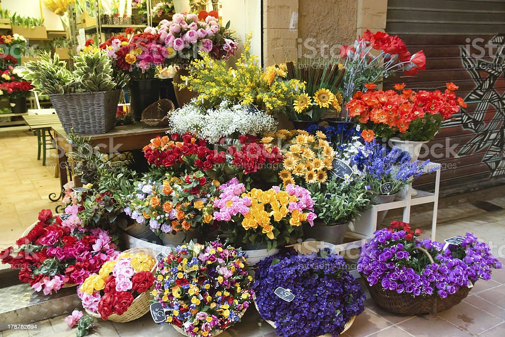 Nice - Flowers in the street market stock photo