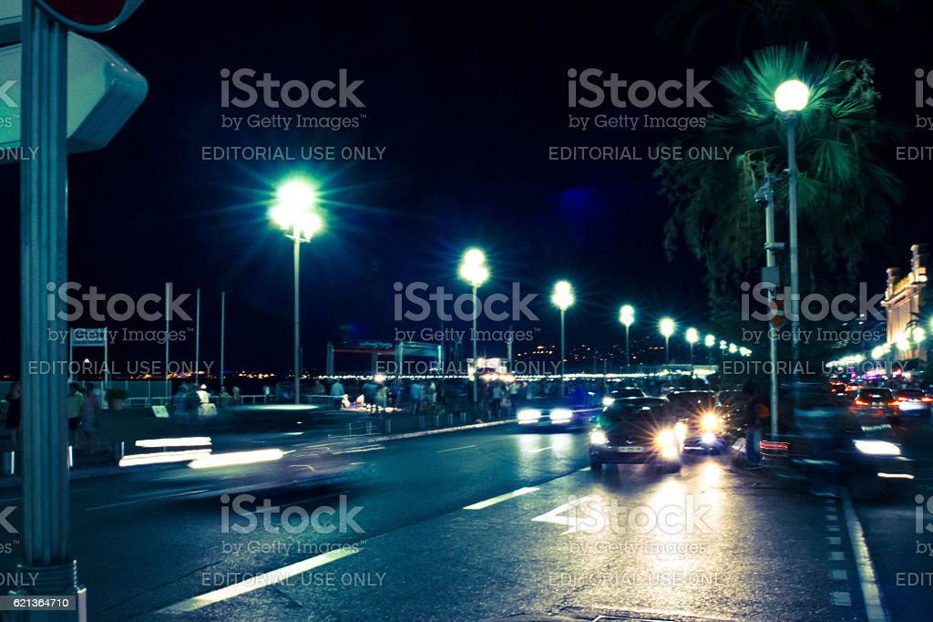 Nice France at night stock photo