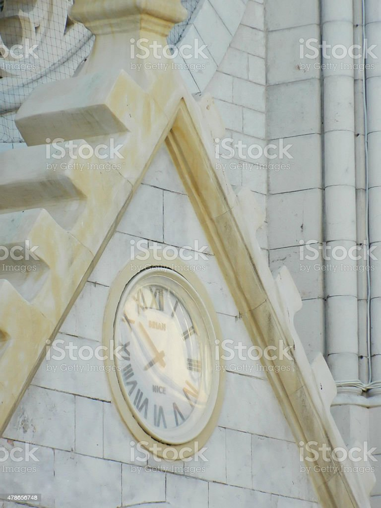 Nice, France cathedral clock on main street close up. stock photo