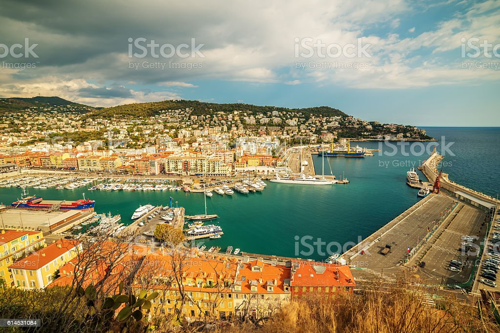 Nice, France: panoramic top view of Port stock photo