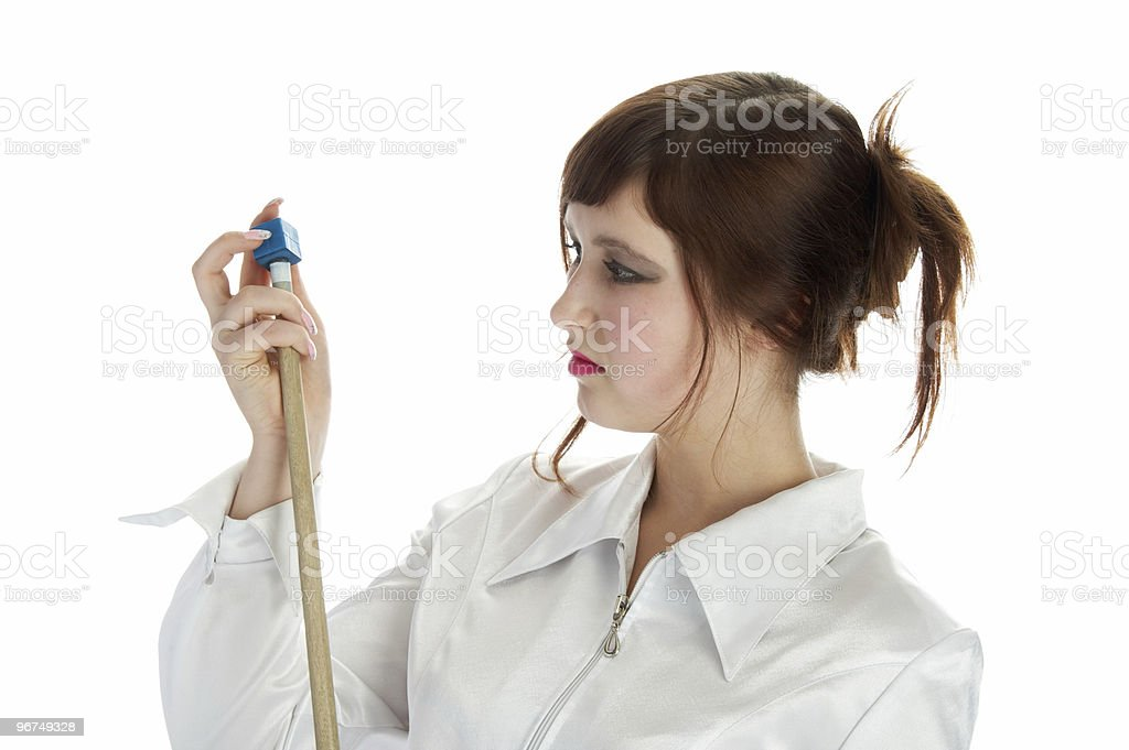 nice girl with cue royalty-free stock photo