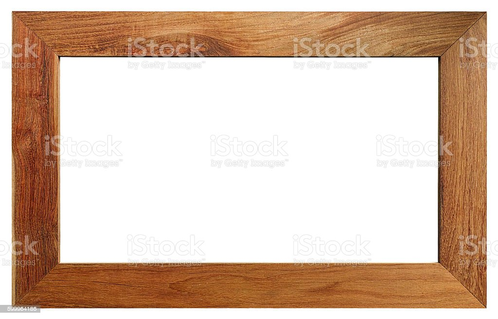 Nice grained teak wood frame isolated on white, clipping path. stock photo