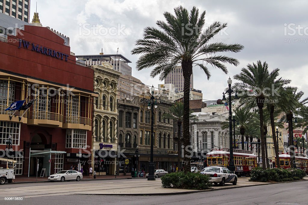 Nice, historic houses in the streets of New Orleans stock photo