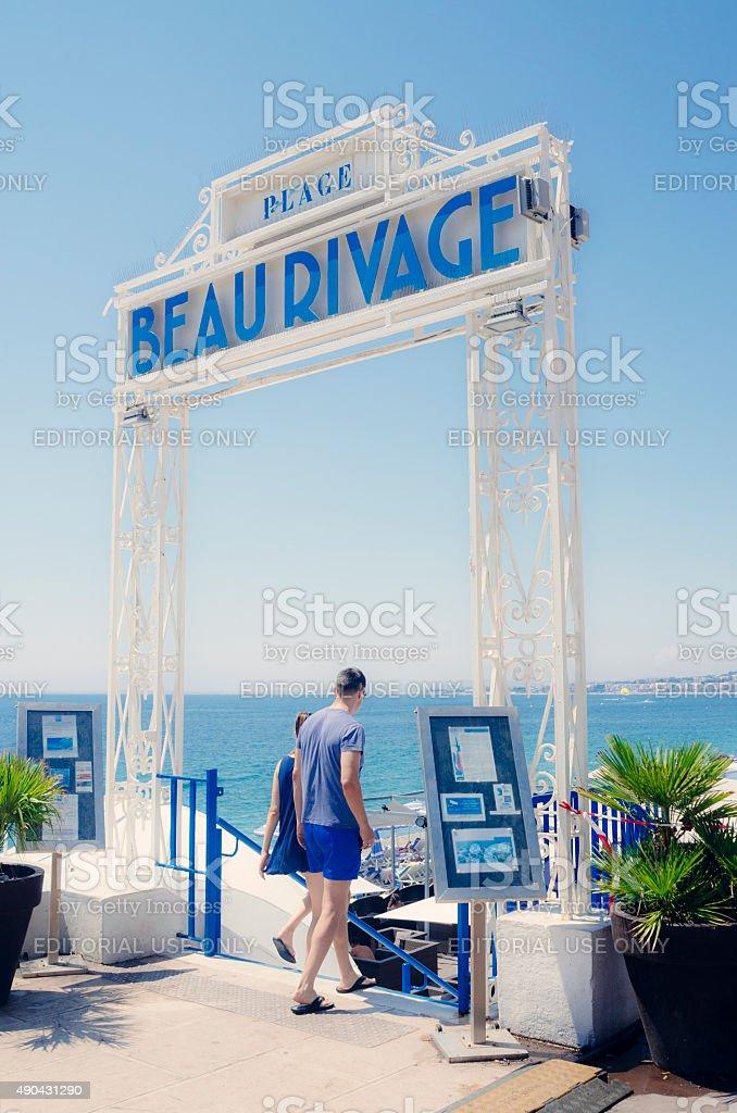 Nice hotel beach, French Riviera stock photo