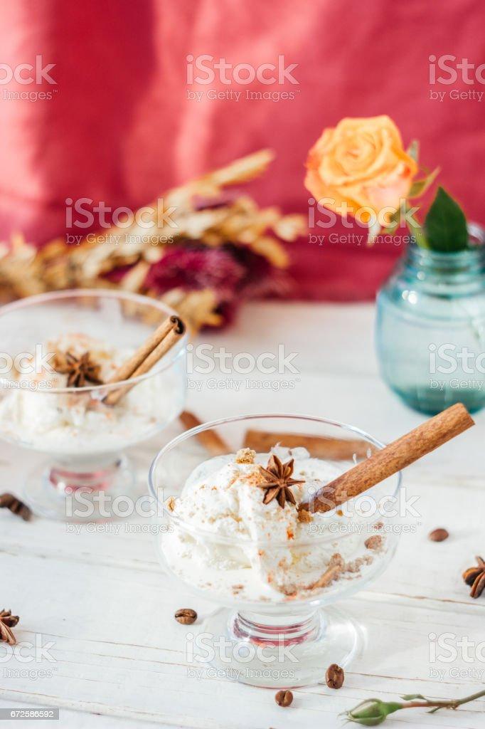 Nice ice cream dessert stock photo