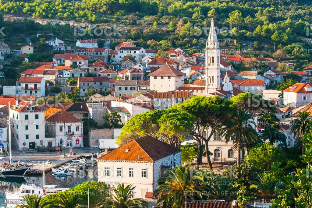 Nice Jelsa in Hvar in Croatia stock photo