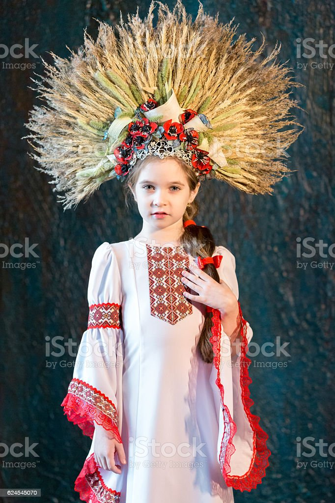 Nice Little Girl In Traditional Folk Costume stock photo
