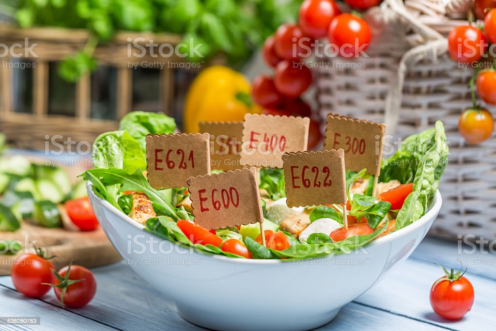 Nice looking food can have preservatives stock photo