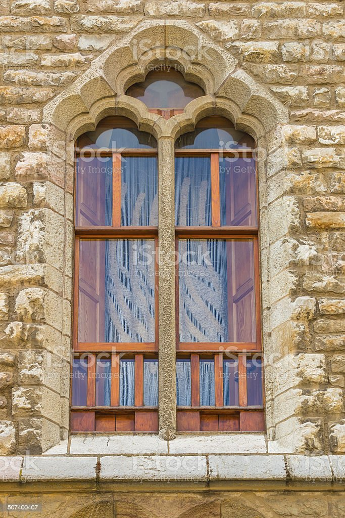 Nice modernist window by Gaud?? in the town of Leon stock photo
